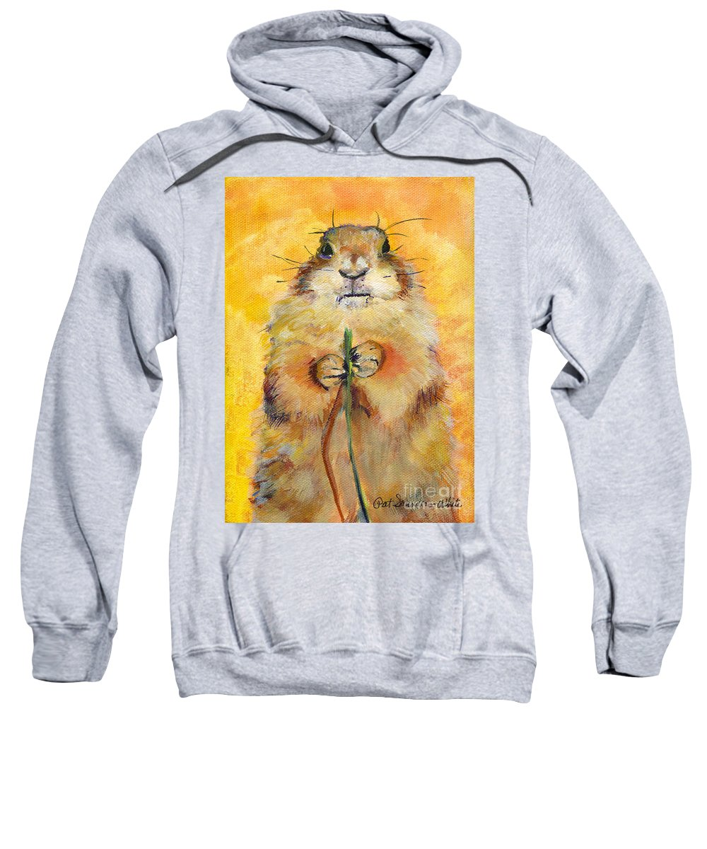 Prairie Dog Painting Sweatshirt featuring the painting Target by Pat Saunders-White