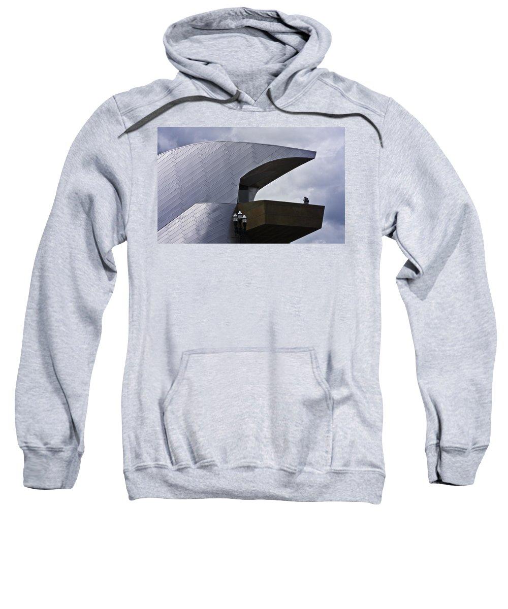 Roanoke Sweatshirt featuring the photograph Taubman Ledge Sculpture Roanoke Virginia by Teresa Mucha