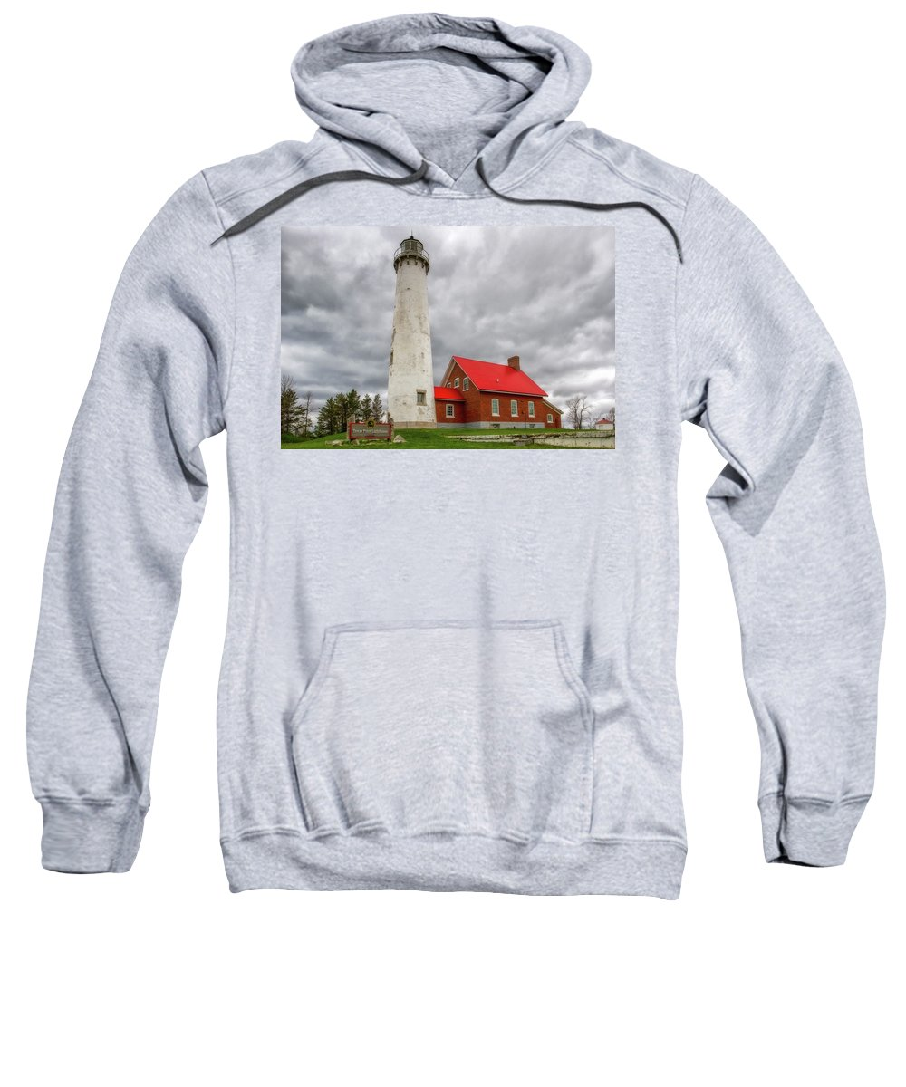 Light Sweatshirt featuring the photograph Tawas Point Lighthouse by Heather Kenward