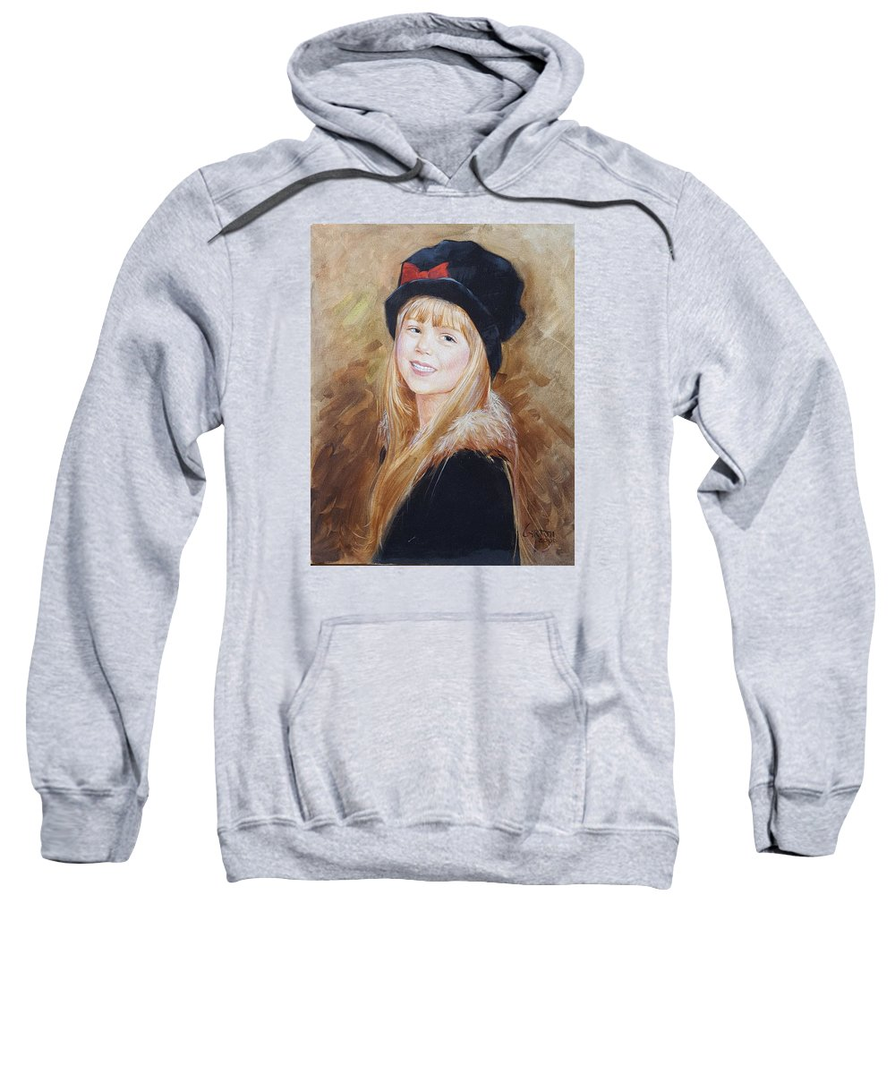 Portrait Of A Beautiful Young Girl Sweatshirt featuring the painting Taylor Webber by Jerrold Carton