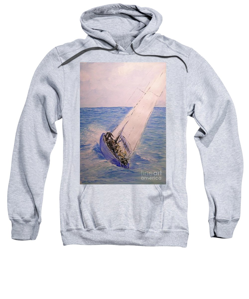 Seascape Sweatshirt featuring the painting Tell Tails In The Wind by Lizzy Forrester