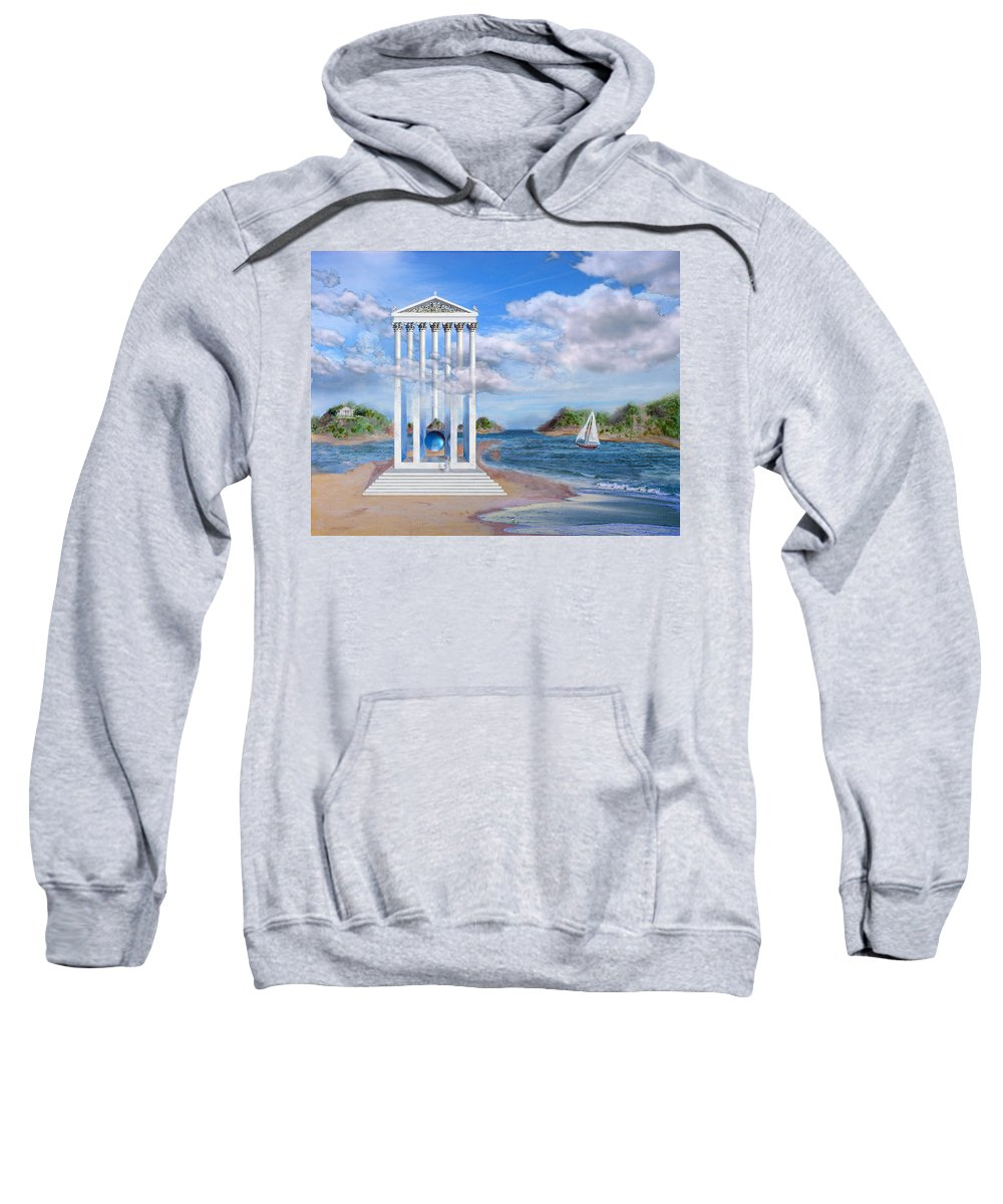 Landscape Sweatshirt featuring the painting Temple For No One by Steve Karol