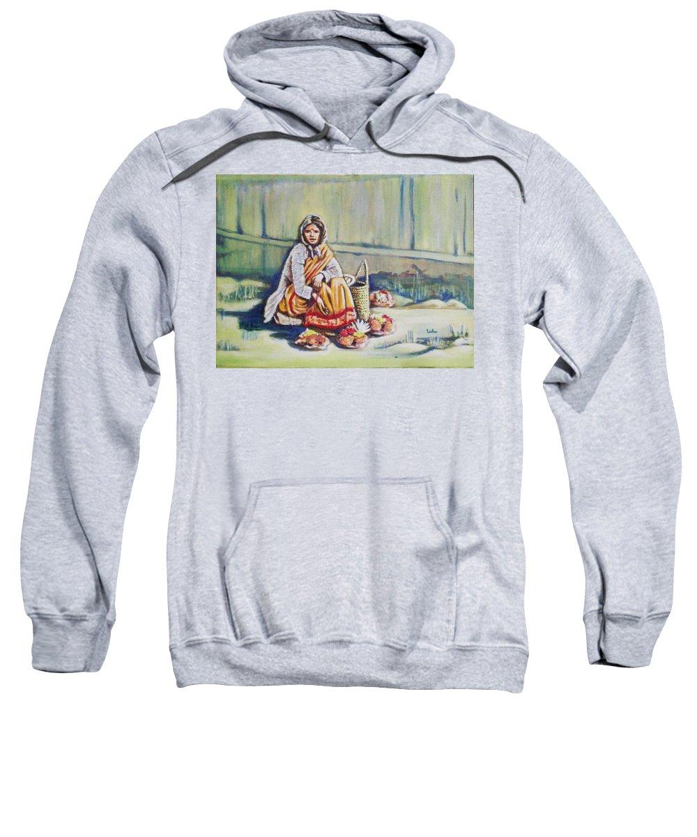 Usha Sweatshirt featuring the painting Temple-side Vendor by Usha Shantharam