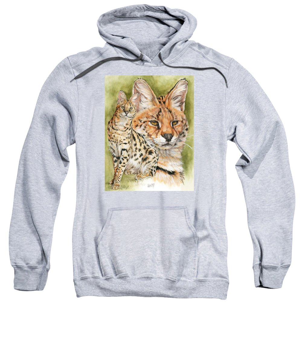 Serval Sweatshirt featuring the mixed media Tempo by Barbara Keith