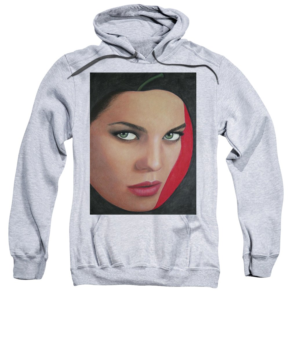 Woman Sweatshirt featuring the painting Temptation by Lynet McDonald