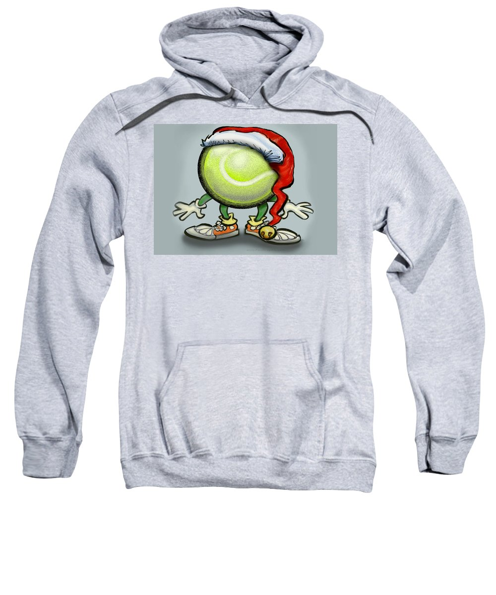 Tennis Sweatshirt featuring the greeting card Tennis Christmas by Kevin Middleton