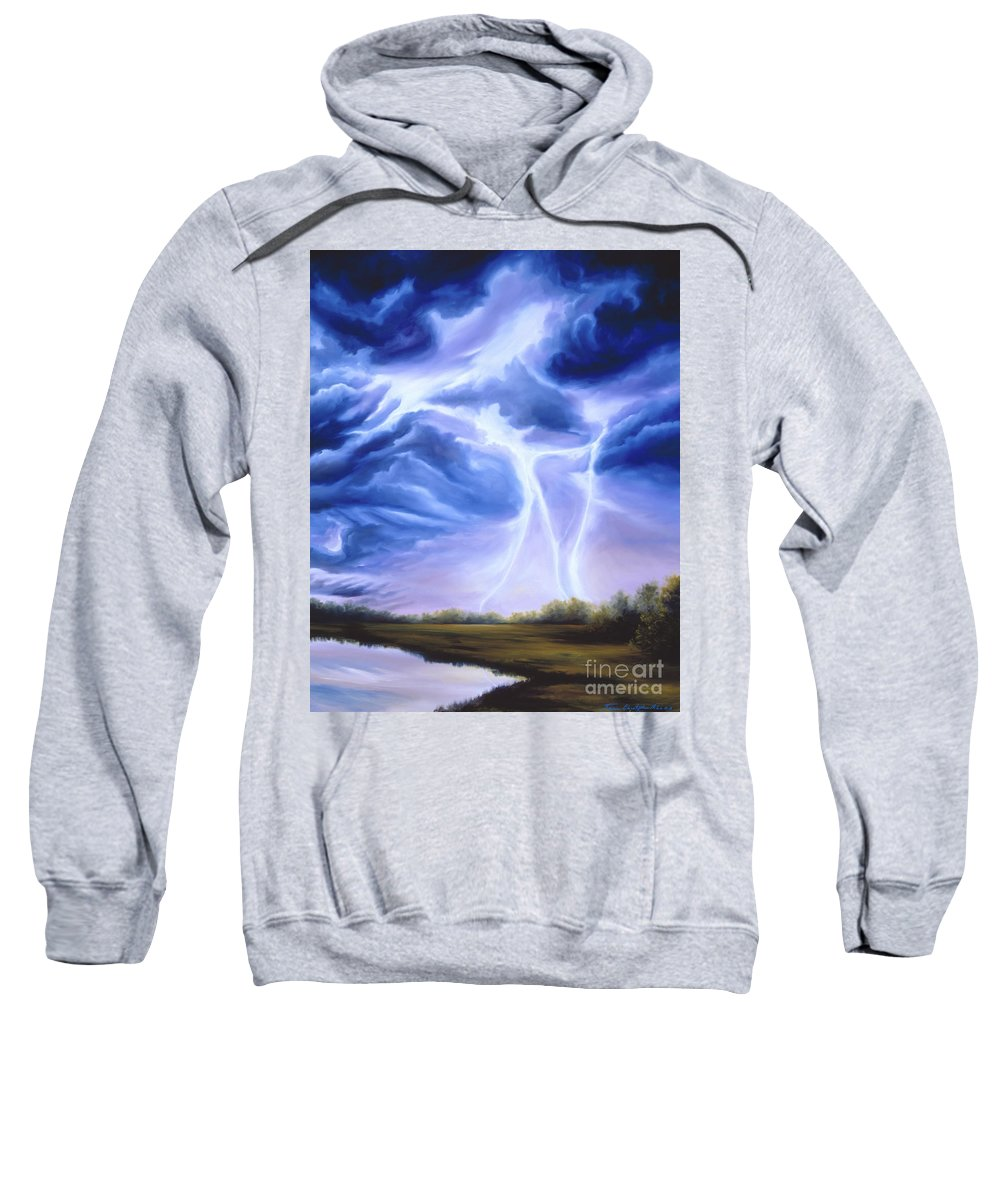 Marsh Sweatshirt featuring the painting Tesla by James Christopher Hill