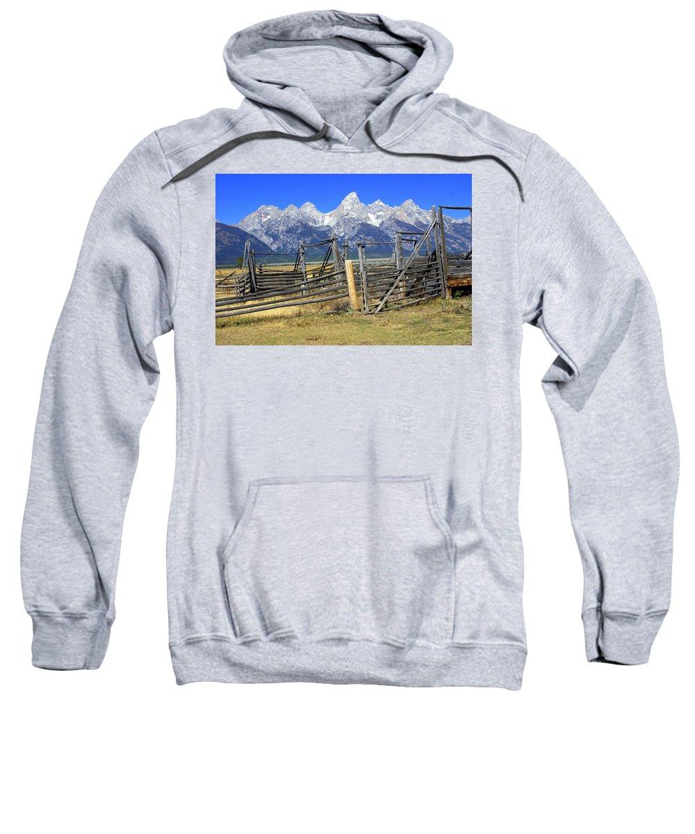 Grand Teton National Park Sweatshirt featuring the photograph Teton Corral 2 by Marty Koch