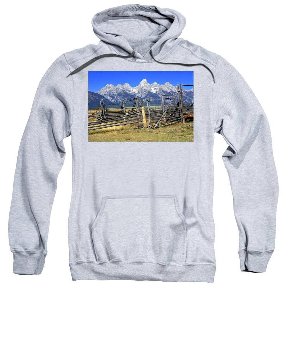 Grand Teton National Park Sweatshirt featuring the photograph Teton Corral by Marty Koch