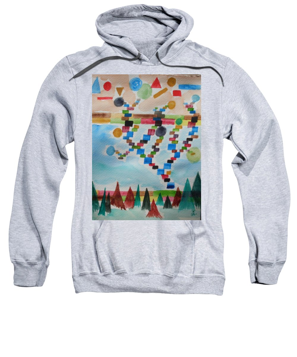 Abstract Sweatshirt featuring the painting Tetrus Meets Nature by Warren Thompson