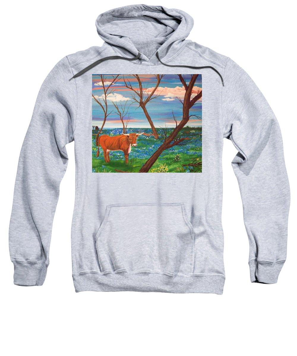 Folk Sweatshirt featuring the painting Texas Cow's Blulebonnet Field by Susan Michutka