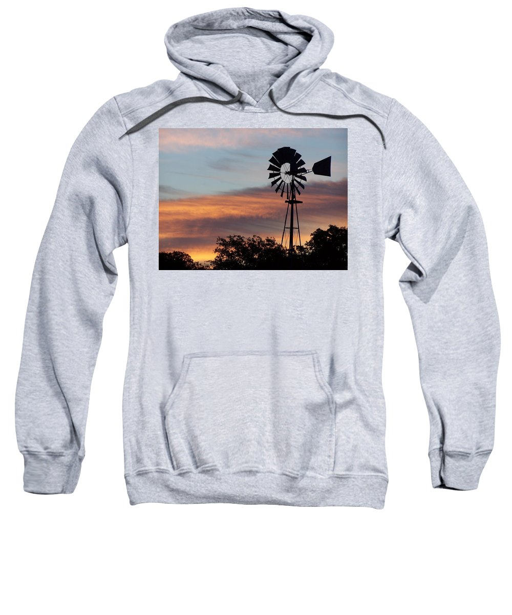 Windmill Sweatshirt featuring the photograph Texas Sunrise by Gale Cochran-Smith