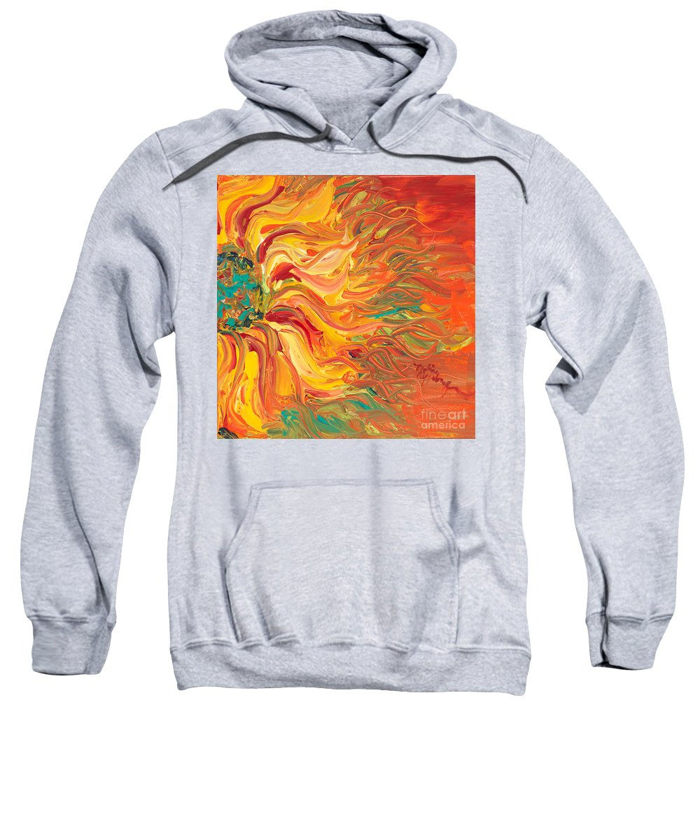 Sunjflower Sweatshirt featuring the painting Textured Fire Sunflower by Nadine Rippelmeyer