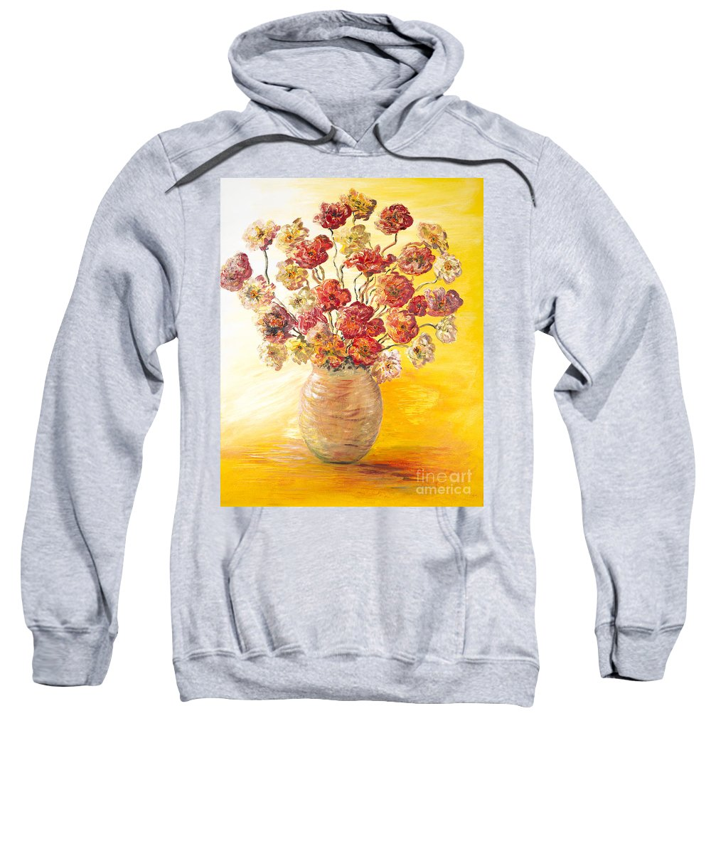Flowers Sweatshirt featuring the painting Textured Flowers In A Vase by Nadine Rippelmeyer