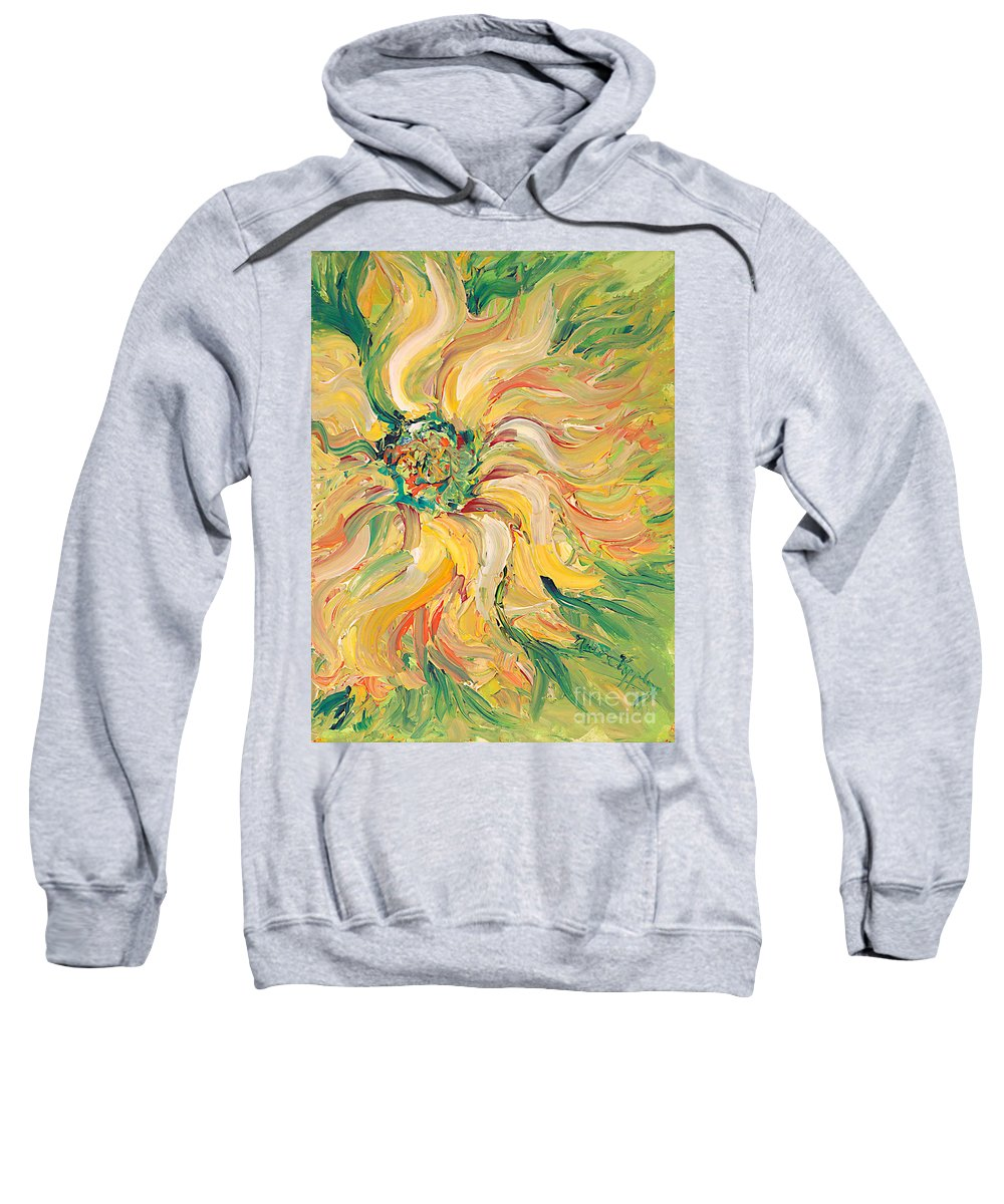 Texture Sweatshirt featuring the painting Textured Green Sunflower by Nadine Rippelmeyer