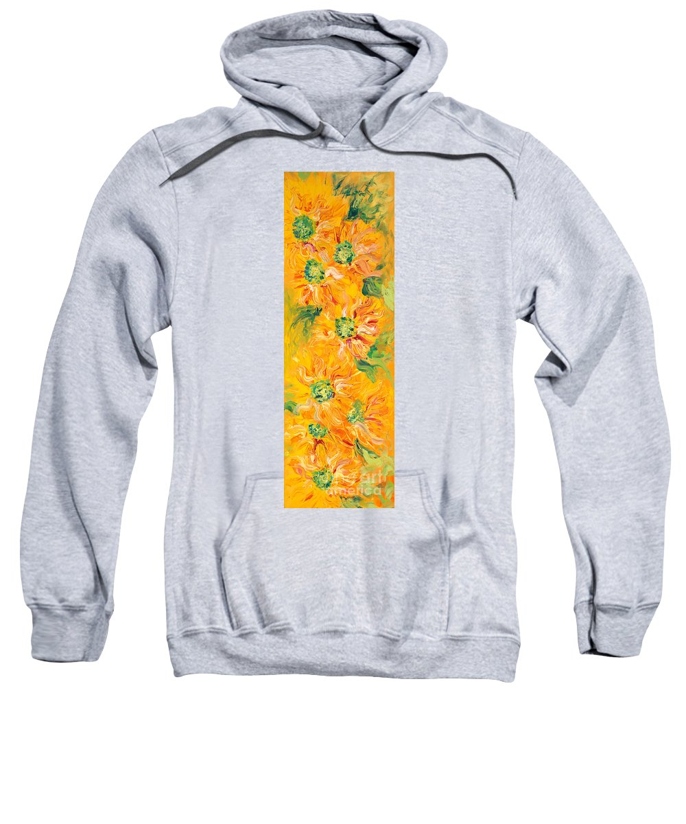 Yellow Sweatshirt featuring the painting Textured Yellow Sunflowers by Nadine Rippelmeyer