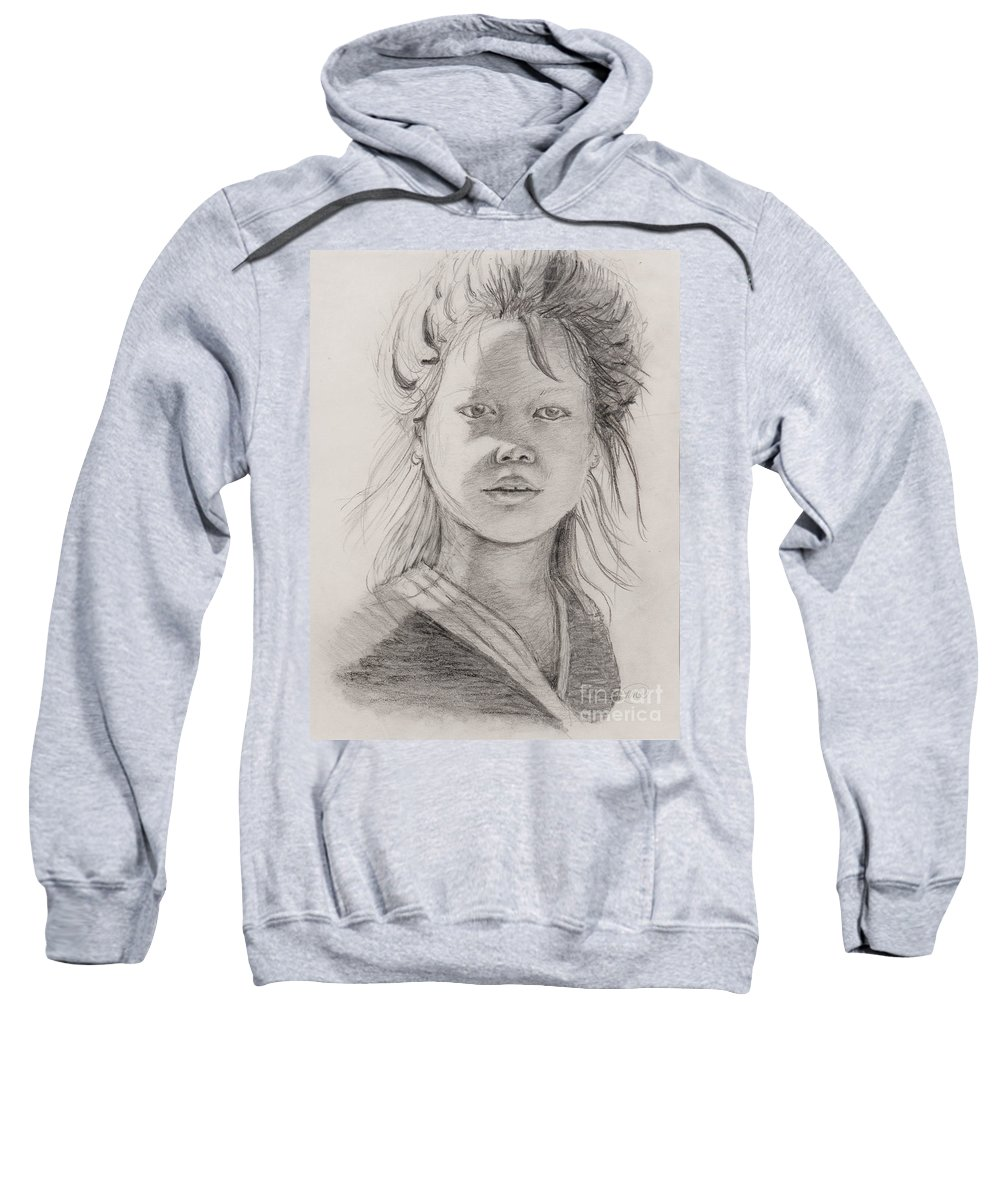 Portrait Sweatshirt featuring the drawing Thai Beauty by Nadine Rippelmeyer