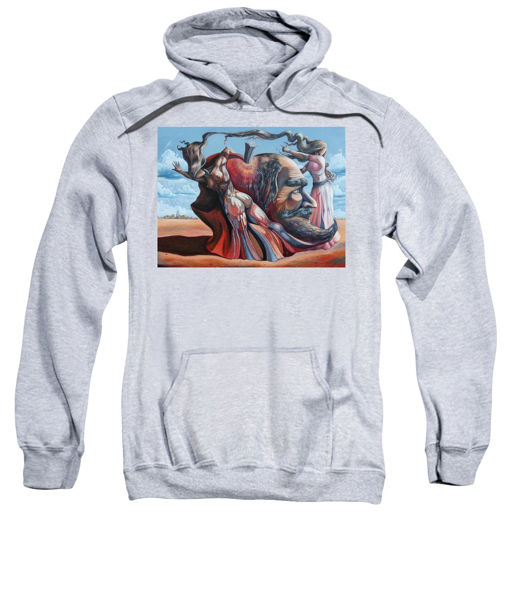 Surrealism Sweatshirt featuring the painting The Adam-eve Delusion by Darwin Leon