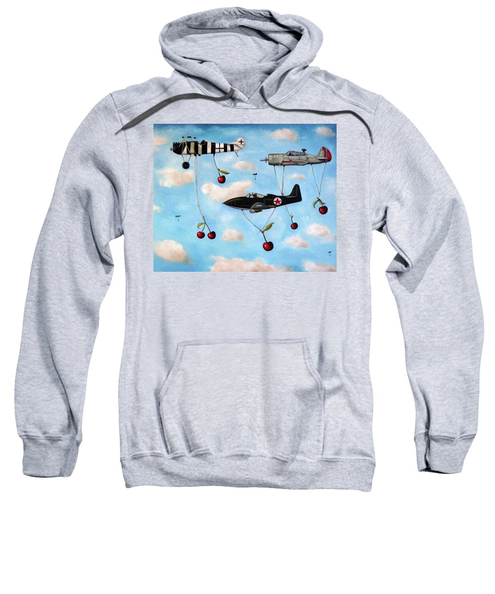 Cherries Sweatshirt featuring the painting The Amazing Race 5 by Leah Saulnier The Painting Maniac