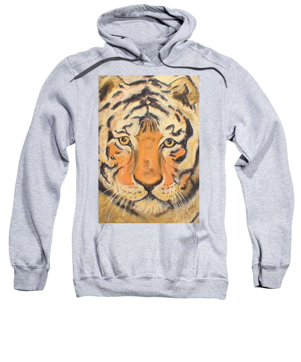 Pastel Sweatshirt featuring the drawing The Amber Stare by Cori Solomon
