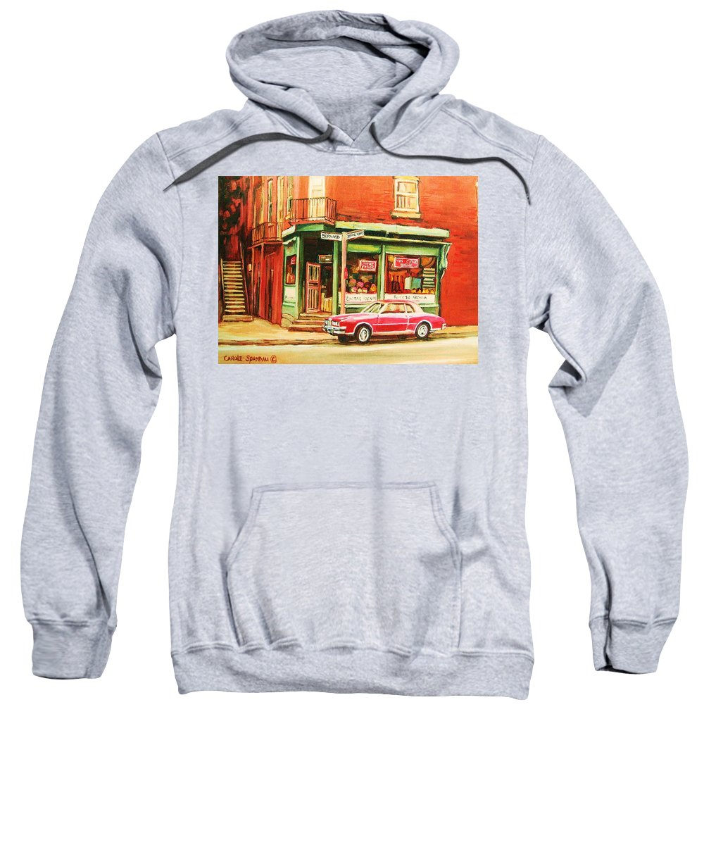 Montreal Sweatshirt featuring the painting The Arcadia Five And Dime Store by Carole Spandau