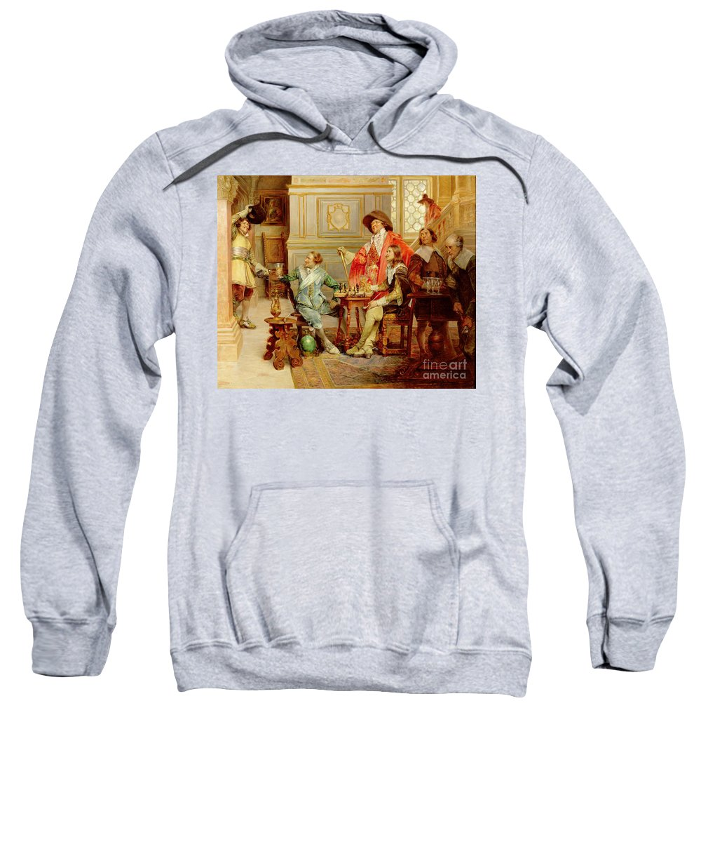 Athos; Porthos; Aramis; Musketeer; Interior; French; Male; Guards; C17th; Chess; Playing; Drinking; C19th; C20th; Mousqutaire Sweatshirt featuring the painting The Arrival Of D'artagnan by Alex de Andreis