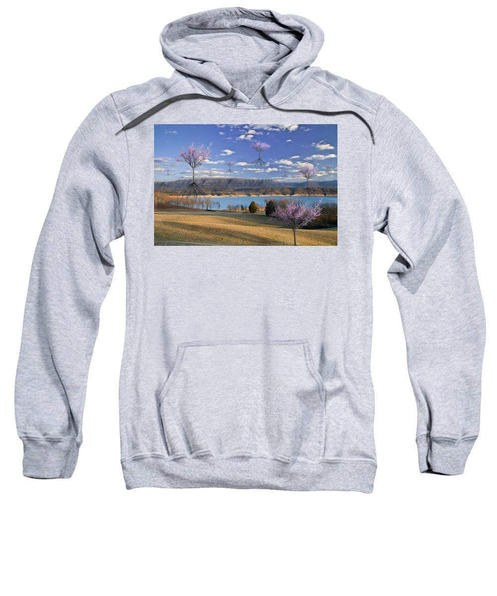 Blue; Clouds; Fantasy; Flowers; Flying; Lake; Landing; Mountains; Pink; Redbuds; Seasons; Sky; Spring; Surreal; Surrealism; Trees; Fantasy Sweatshirt featuring the photograph The Arrival Of Spring by Marc Ward
