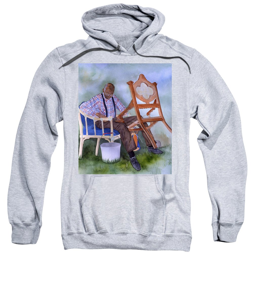 Portrait Sweatshirt featuring the painting The Art Of Caning by Jean Blackmer