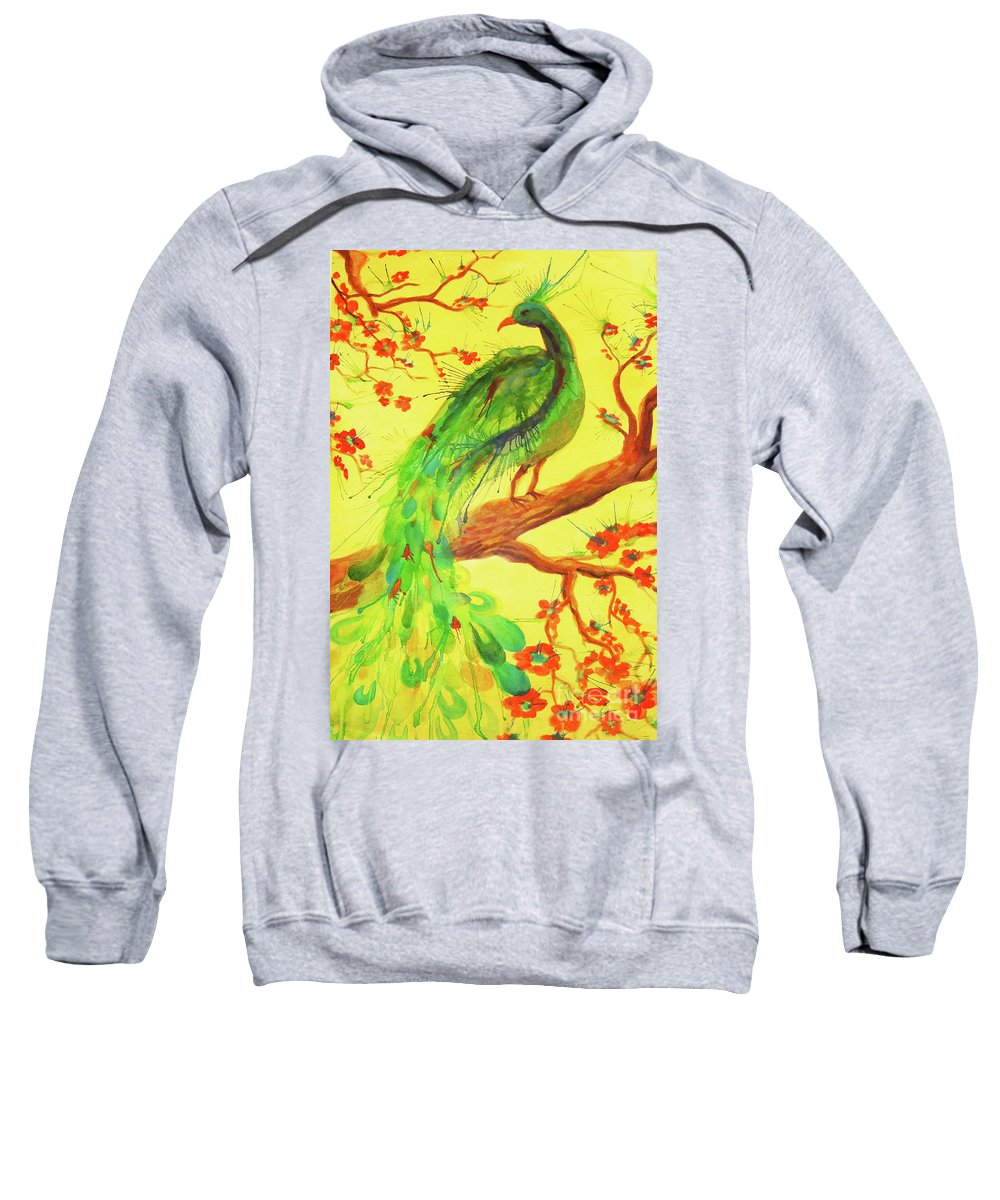 Bird Sweatshirt featuring the painting The Auspicious Peacock by Angelique Bowman