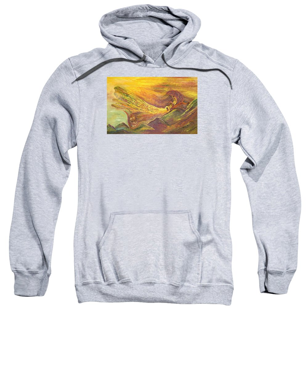 Autumn Sweatshirt featuring the painting The Autumn Music Wind by Karina Ishkhanova