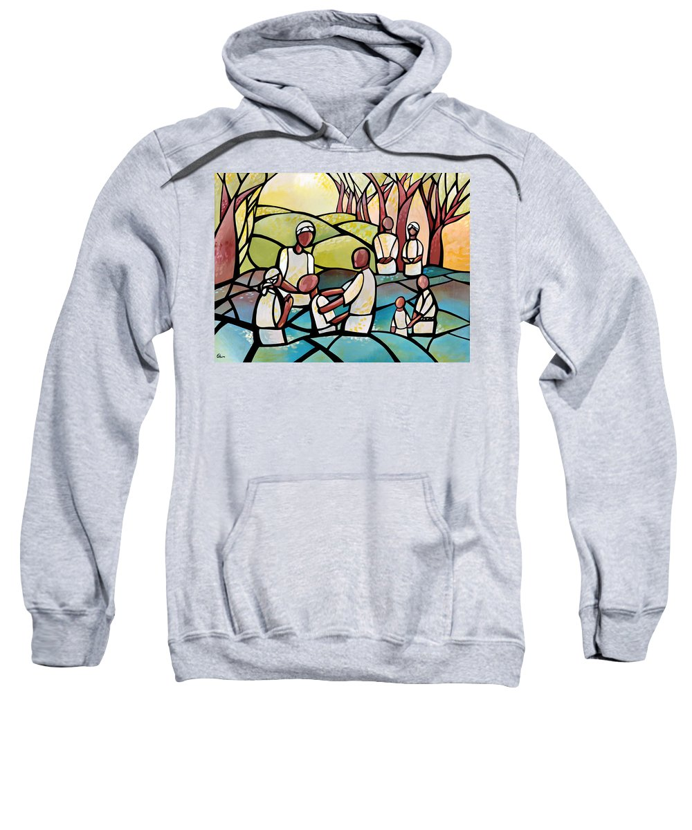 Religous Sweatshirt featuring the painting The Baptism by AC Williams