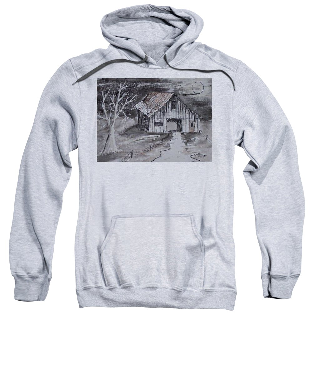 Watercolor Landscape Painting Barn Pen And Ink Painting Drawing Sweatshirt featuring the painting THE BARN country pen and ink drawing by Derek Mccrea