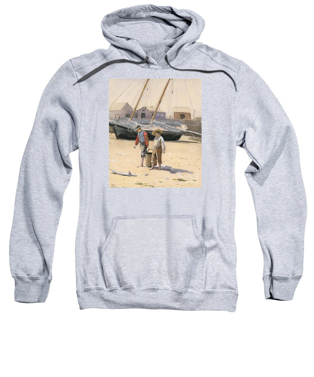 The Basket Of Clams (wc) Sweatshirt featuring the painting The Basket Of Clams by MotionAge Designs