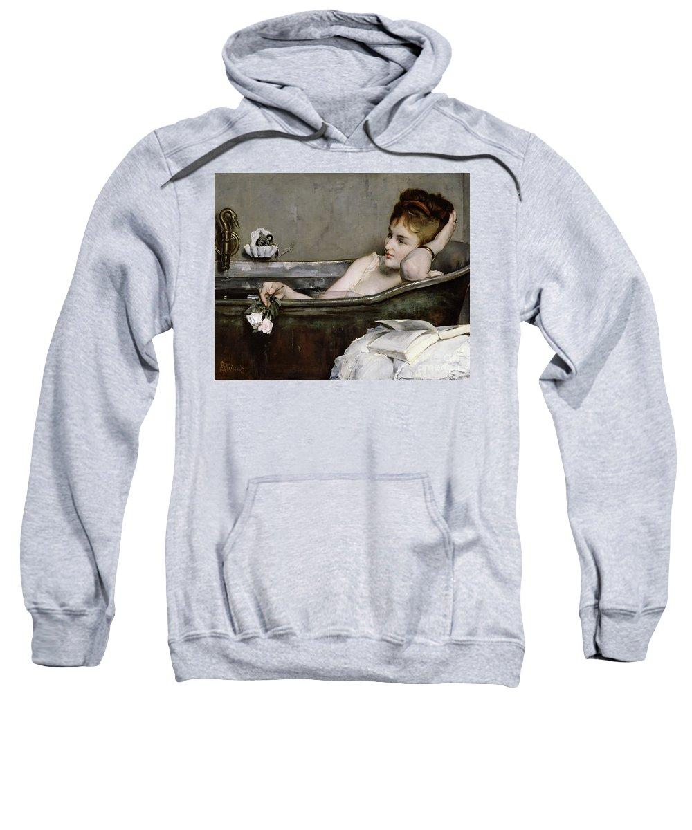 Alfred George Stevens Sweatshirt featuring the painting The Bath by Alfred George Stevens