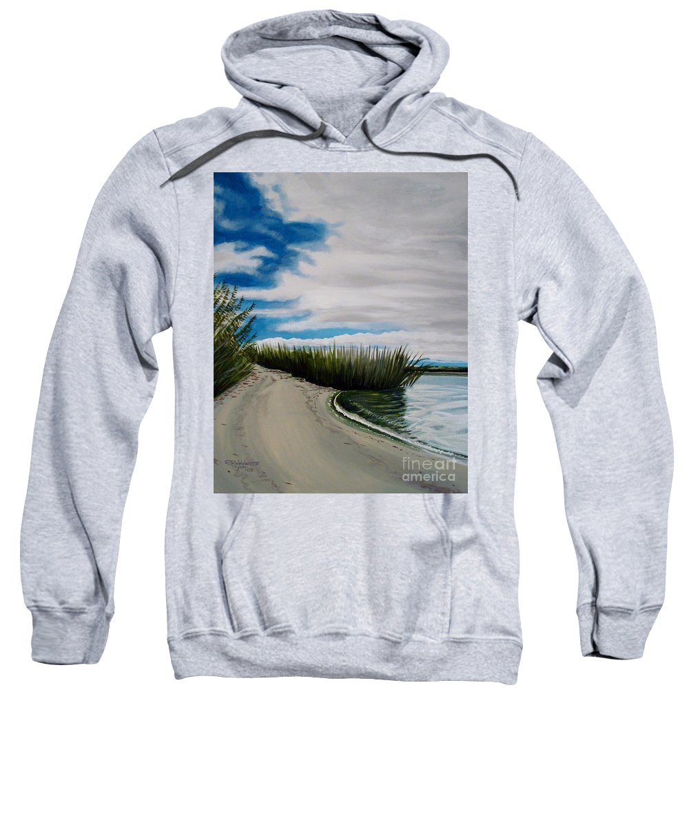 Beach Sweatshirt featuring the painting The Beach by Elizabeth Robinette Tyndall