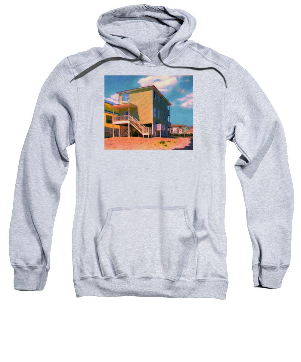Beach Sweatshirt featuring the painting The Beach House by Van Evan Fuller