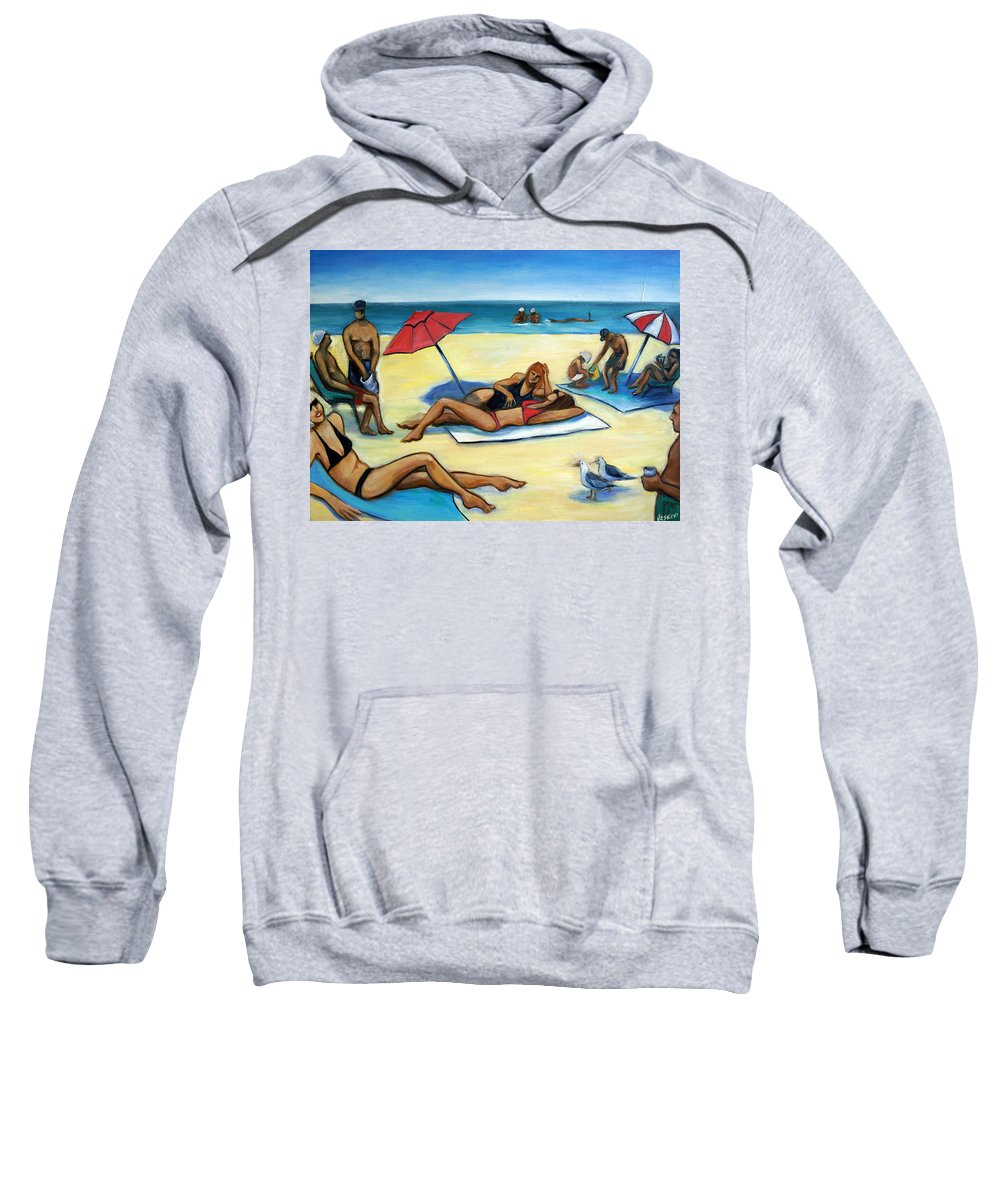 Beach Scene Sweatshirt featuring the painting The Beach by Valerie Vescovi