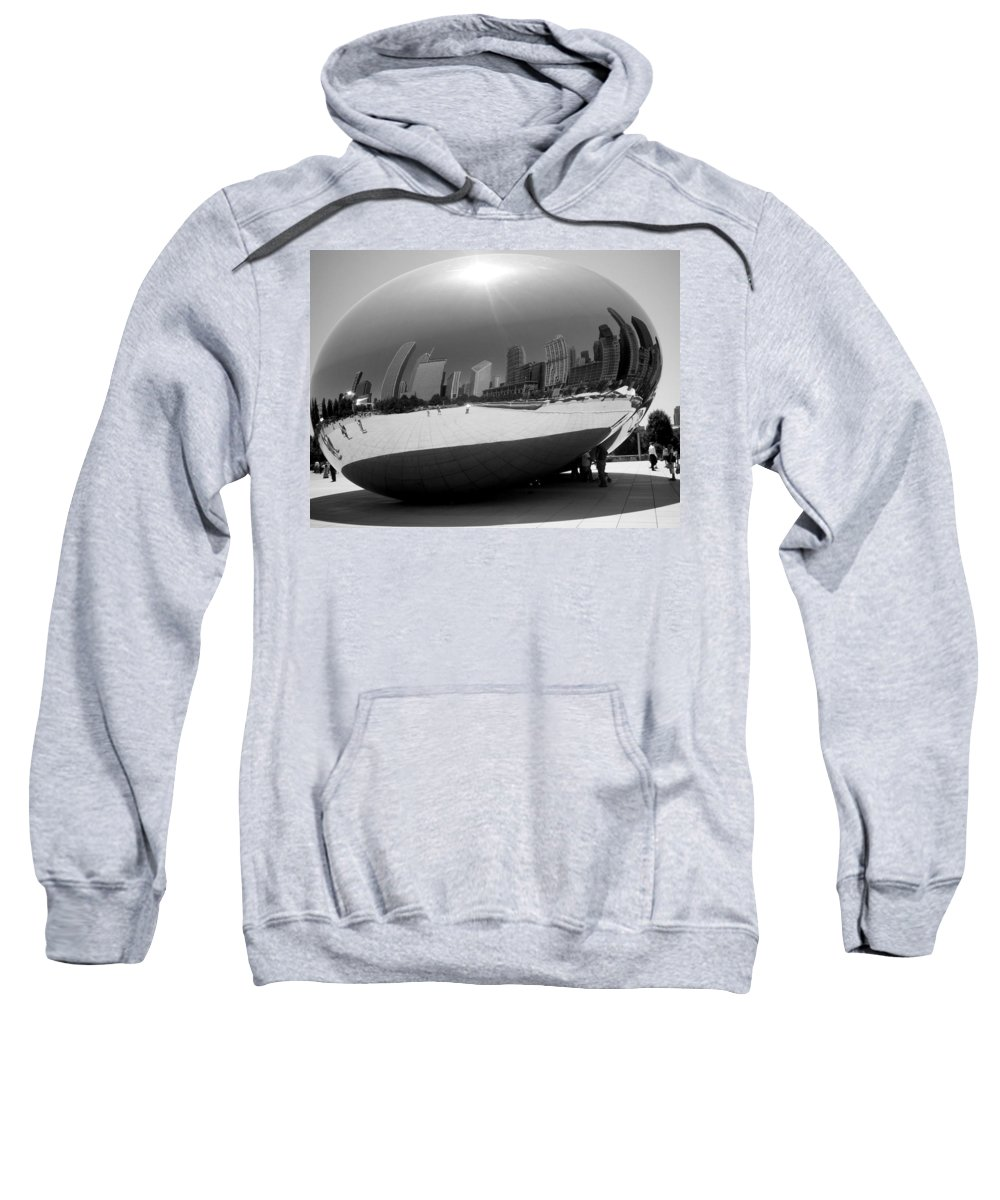 Chicago Sweatshirt featuring the photograph The Bean B-w by Anita Burgermeister