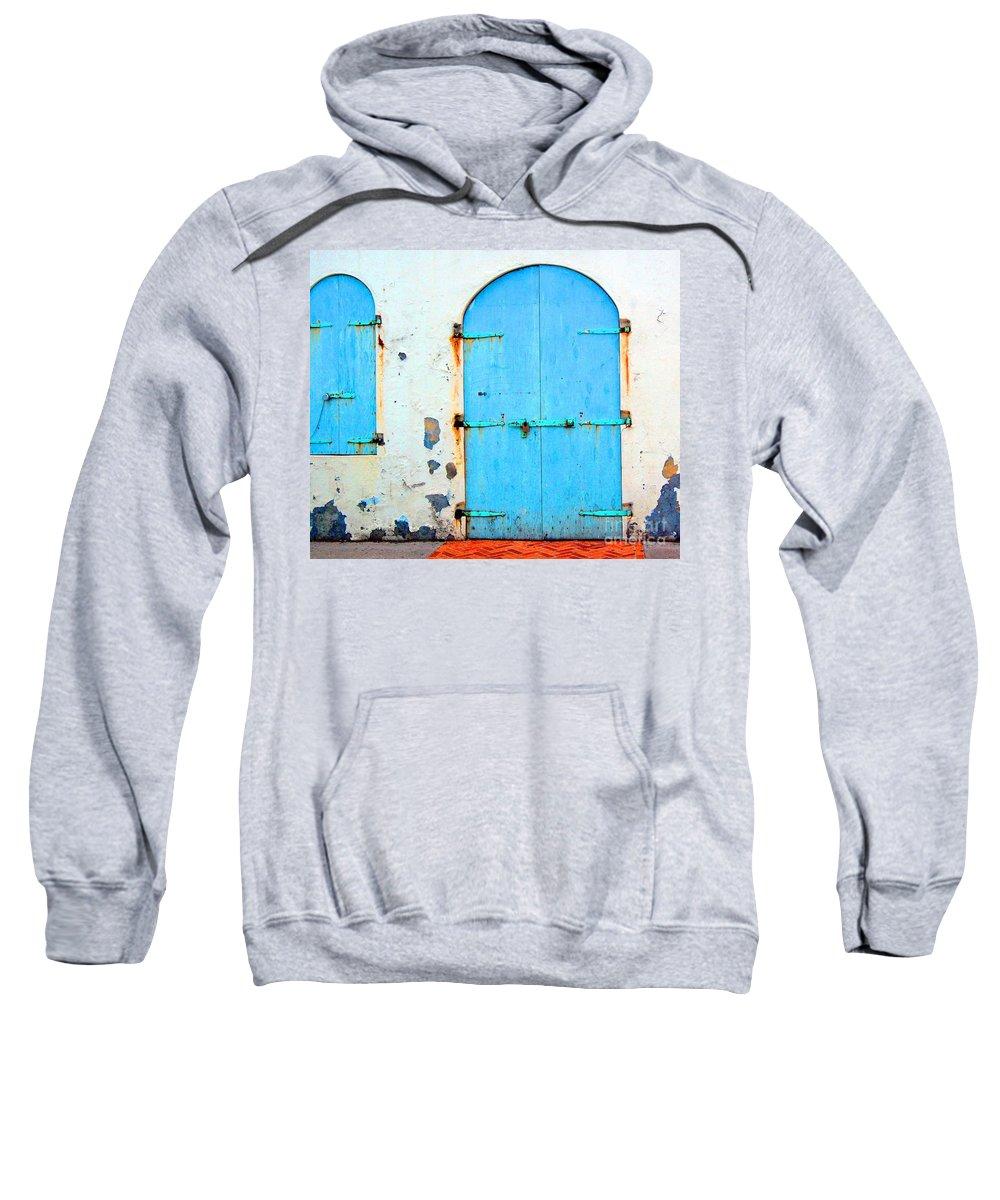 Door Sweatshirt featuring the photograph The Blue Door Shutters by Debbi Granruth