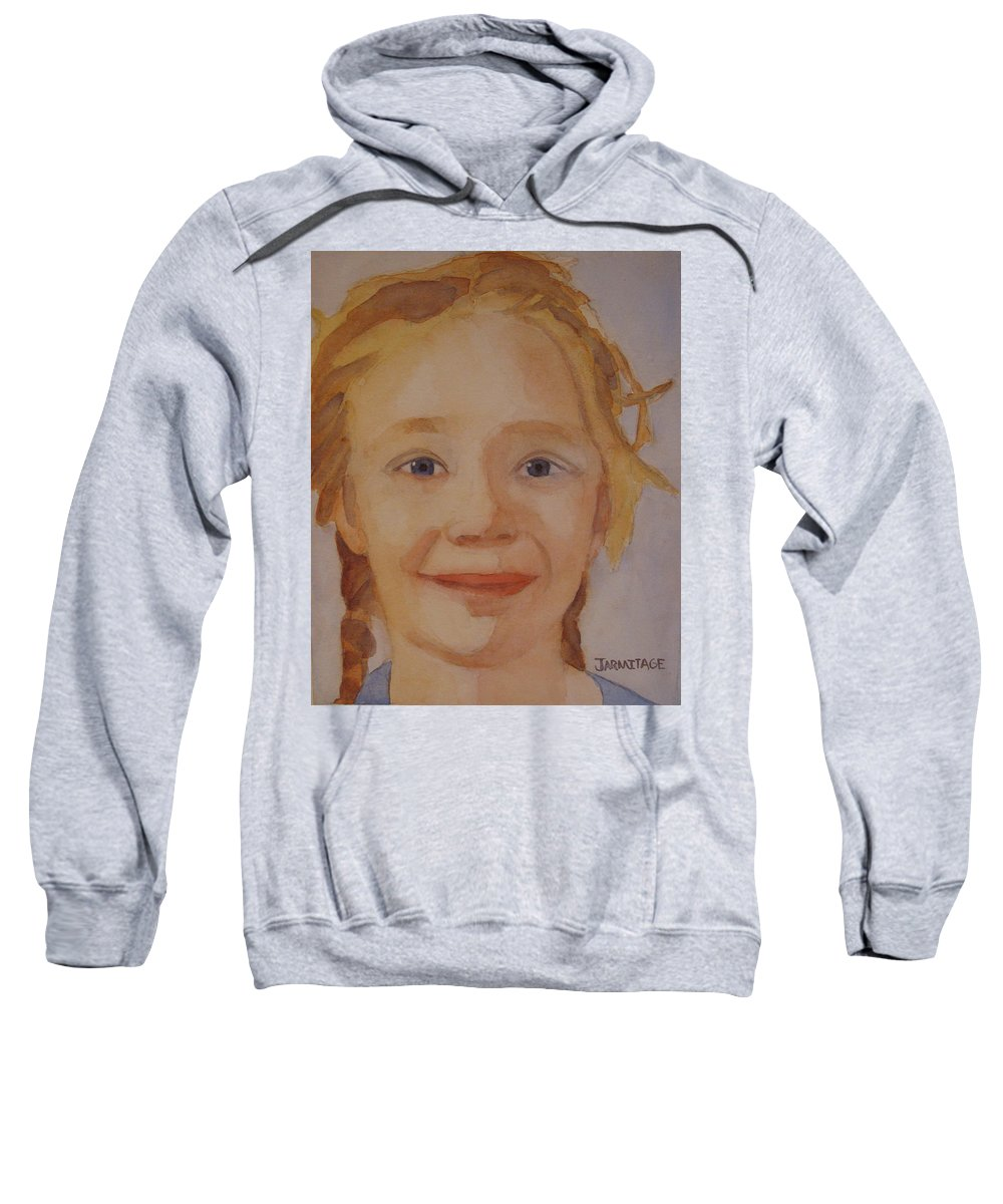 Partrait Sweatshirt featuring the painting The Blue-eyed Duckling by Jenny Armitage