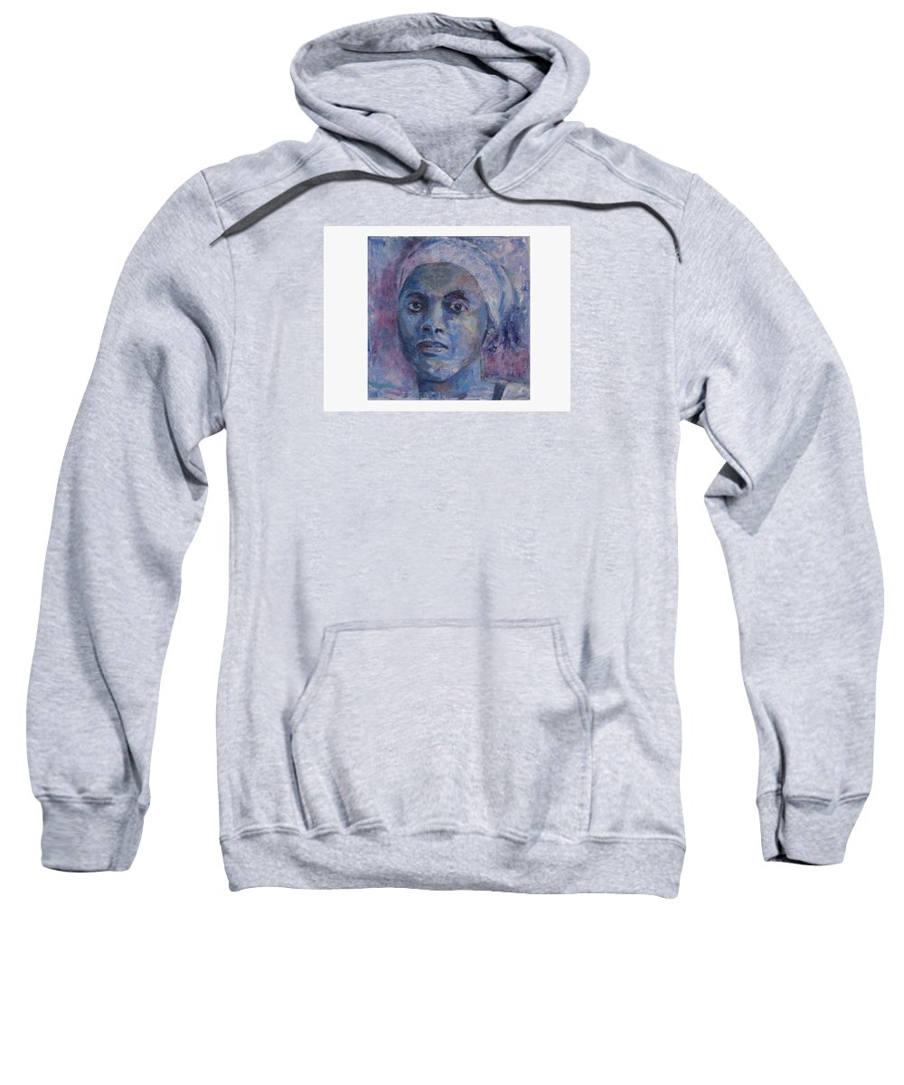 Woman Sweatshirt featuring the painting The Blues by Connie Freid