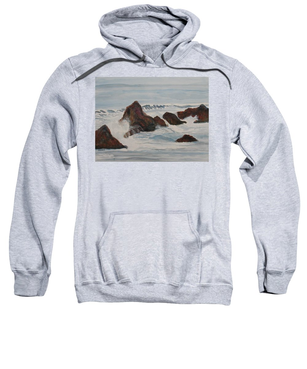 Waves Sweatshirt featuring the painting The Breakers At Seal Rock II by Jenny Armitage