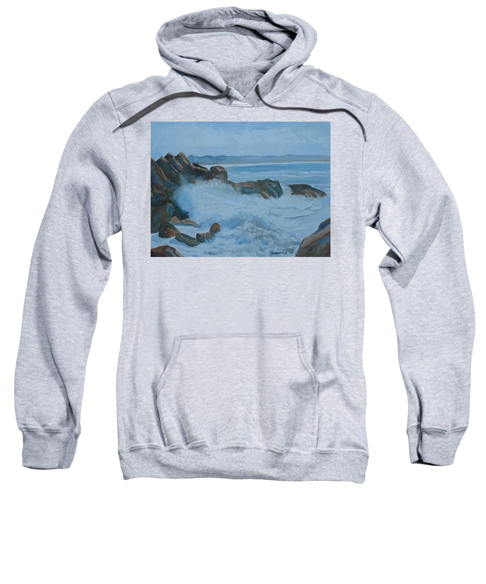 Breakers Sweatshirt featuring the painting The Breakers Below Yaquina Head I by Jenny Armitage