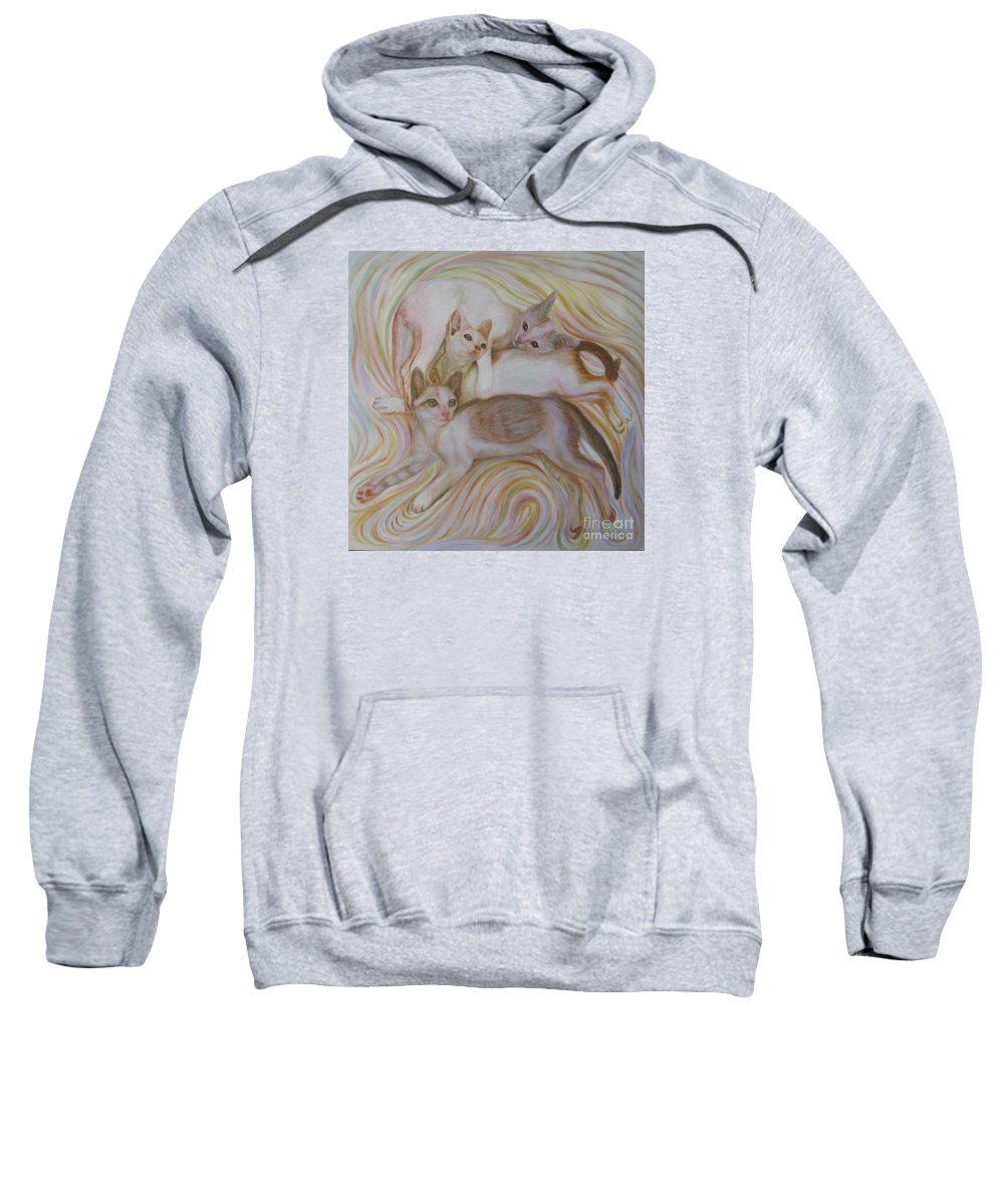 Cat Sweatshirt featuring the painting The Brothers by Sukalya Chearanantana