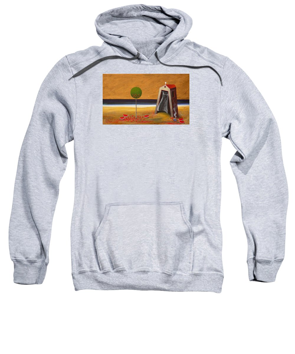 Astronomy Sweatshirt featuring the painting the Buff House by Dimitris Milionis