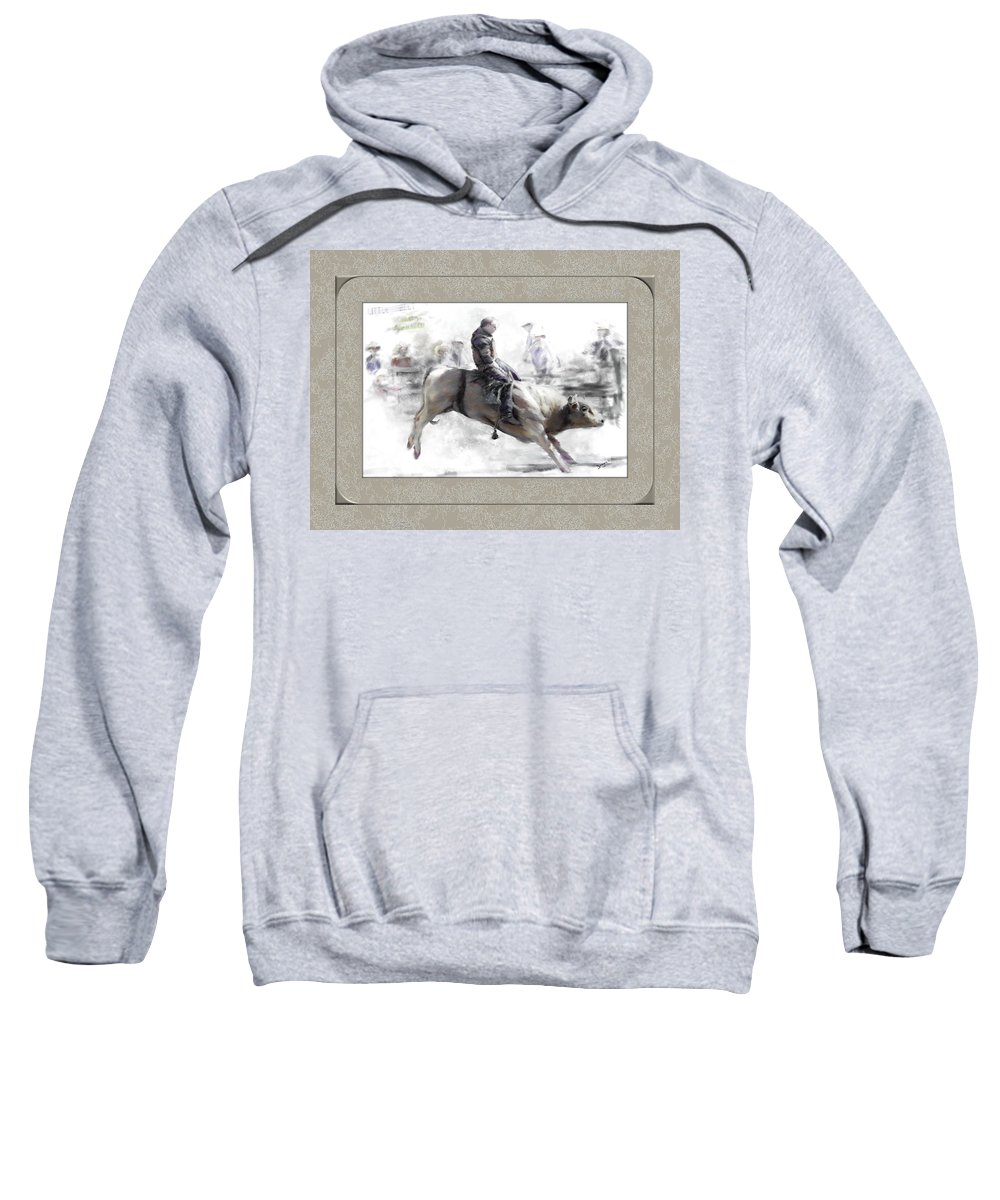 Bull Rider Sweatshirt featuring the painting The Bull Rider by Susan Kinney