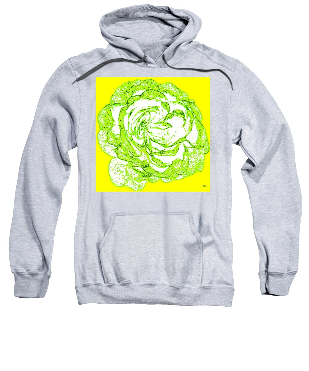 Abstract Sweatshirt featuring the digital art The Cabbage Rose by Will Borden