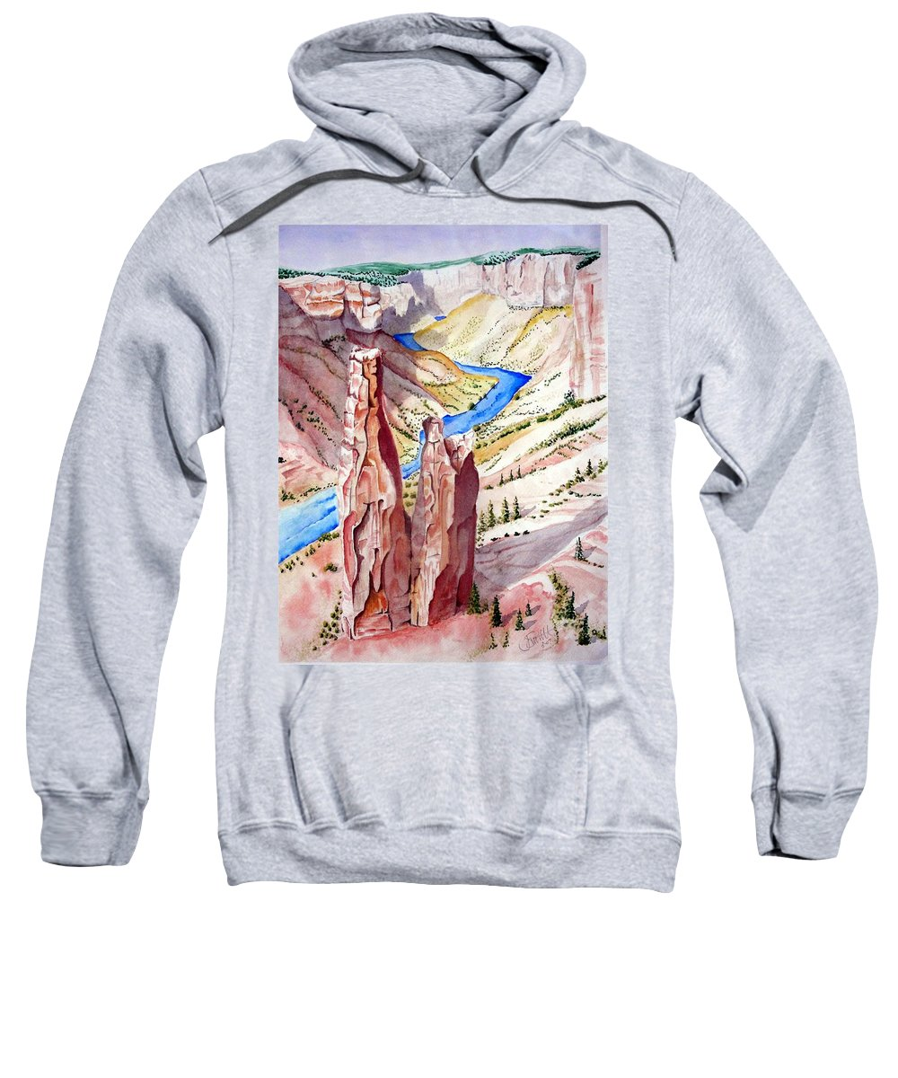 Canyon Sweatshirt featuring the painting The Canyon by Jimmy Smith
