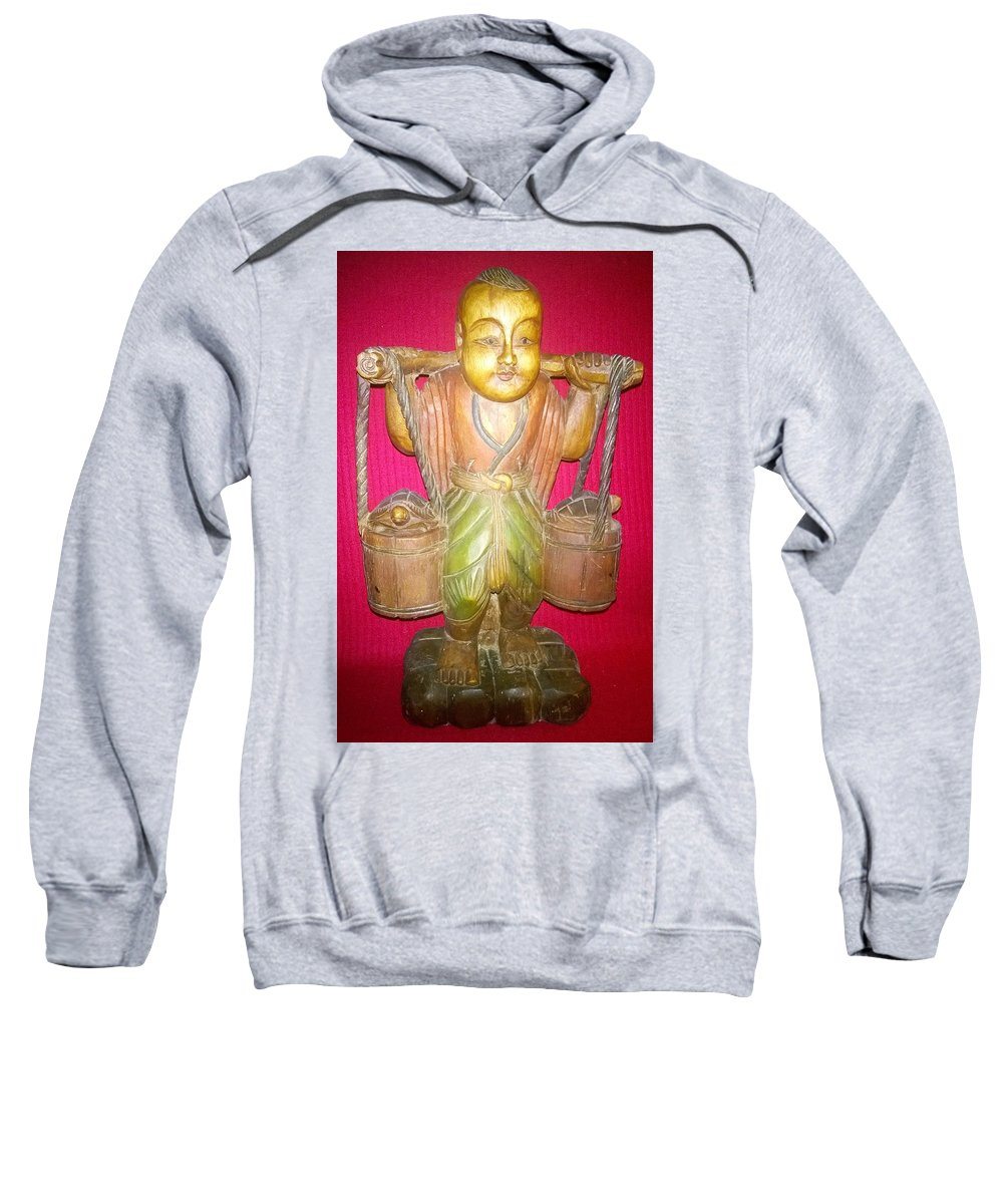 He Carrier - Sp014 - Studio Photography - Antique Thai Wood Sculpture Sweatshirt featuring the photograph The Carrier by Mike Russell