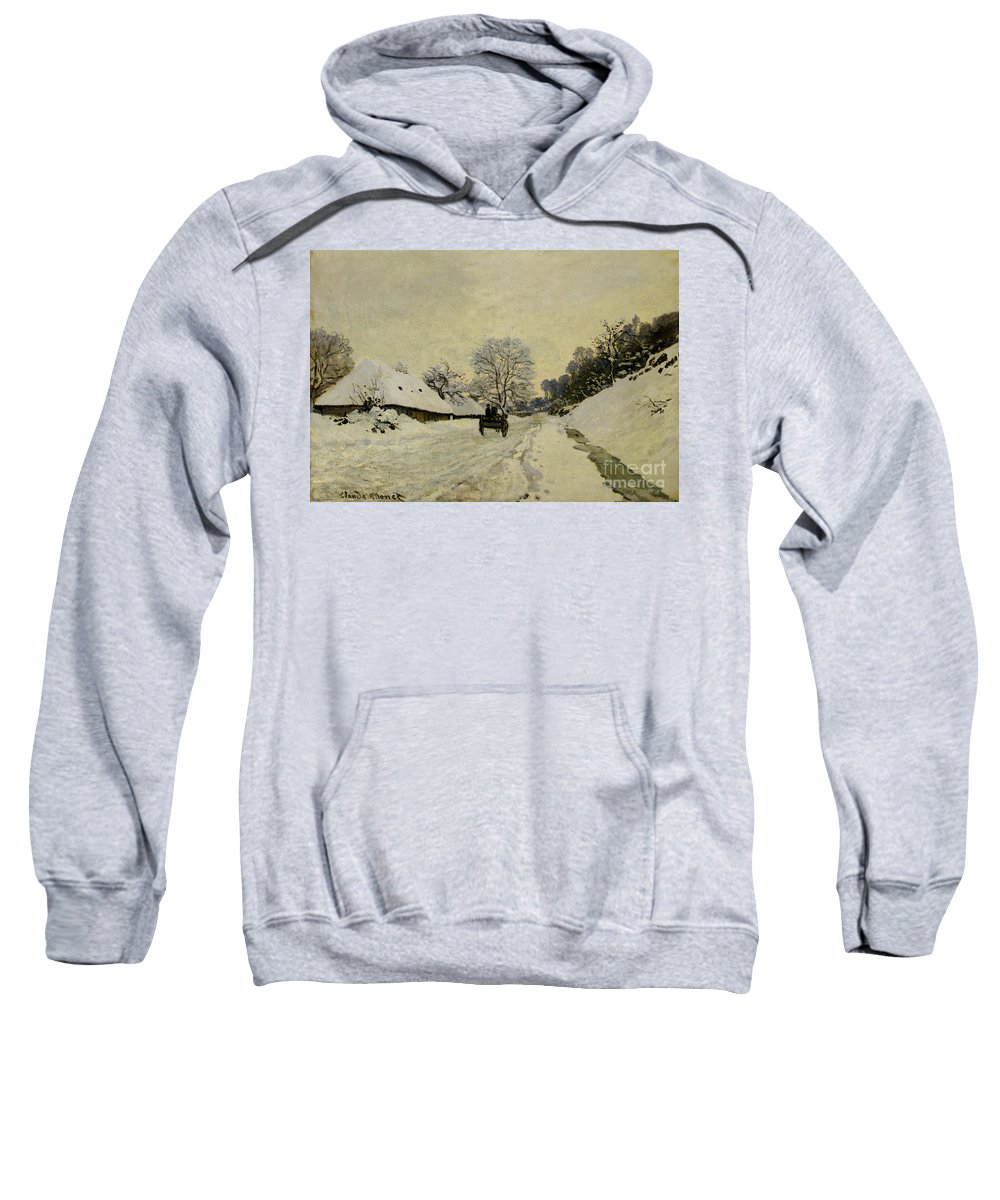 The Cart Sweatshirt featuring the painting The Cart by Claude Monet